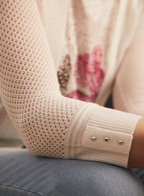 Cardigan ouvert en tricot pointelle, Blanc cassé