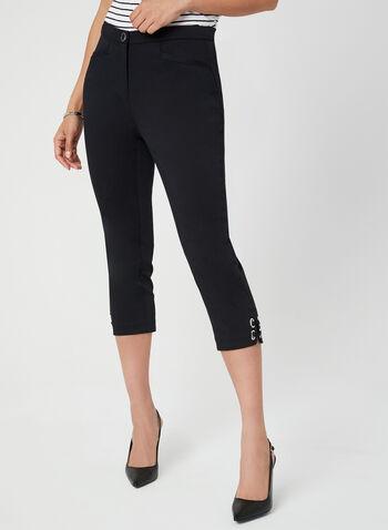 Capri coupe signature à jambe droite, Noir, hi-res,  satinette, printemps 2019, détail, œillet, coton