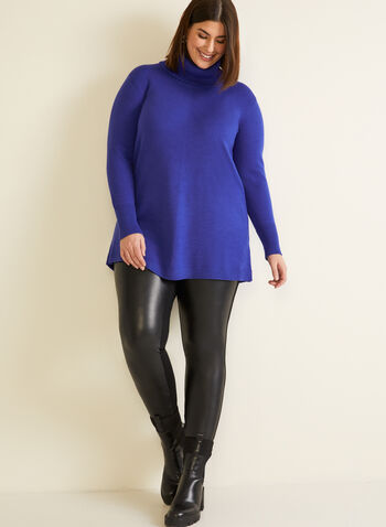 Long Sleeve Cowl Neck Sweater, Blue,  fall winter 2020, holiday, cowl neck, sweater, long sleeves, ribbed, knit