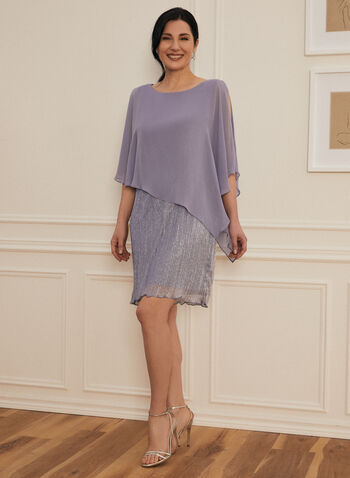 Metallic Poncho Dress, Purple,  spring summer 2021, cocktail dress, sleeveless, poncho, chiffon, pearl detail, scoop neck, overlay