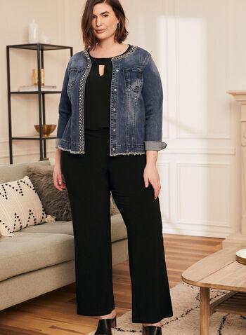 Pearl Embellished Denim Jacket, Blue,  jacket, denim, pearls, pockets, fringe, frayed, spring summer 2020