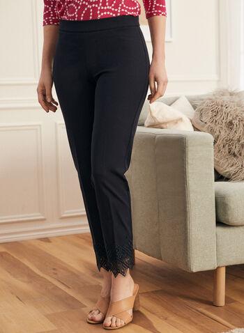 Lace Detail City Fit Pants, Blue,  pants, pull-on, city fit, slim leg, pleats, lace, crochet, spring summer 2020