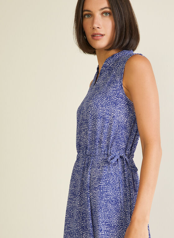 Dotted Print Tunisian Neck Dress, Blue