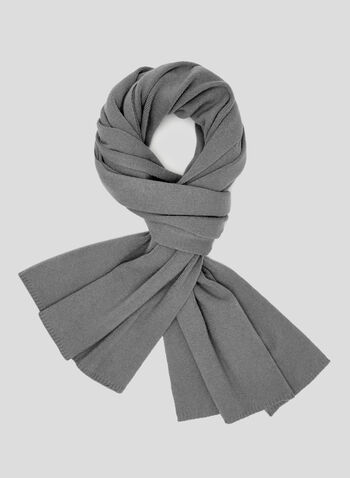 Ribbed Knit Scarf, Grey, hi-res