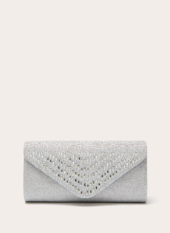 Crystal Embellished Envelope Clutch , Silver, hi-res