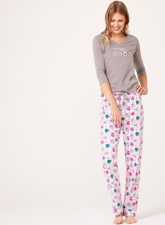 Pillow Talk - Cotton Jersey Pajama Set, Grey, hi-res