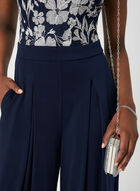 Embroidered Illusion Neck Jumpsuit, Blue, hi-res