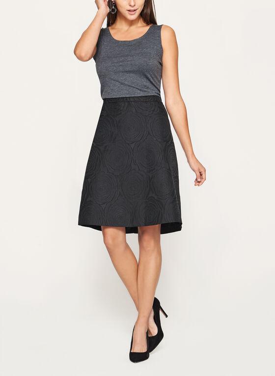 Flared Brocade Skirt, Black, hi-res