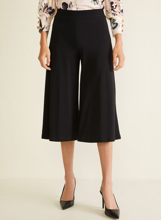 Pull-On Gaucho Pants, Black