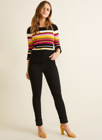 Striped 3/4 Sleeve Sweater, Multi,  sweater, 3/4 sleeves, ruffles, stripes, jersey, knit, crew neck, stretchy, spring summer 2020