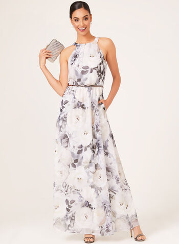 Floral Print Belted Maxi Dress, Grey, hi-res