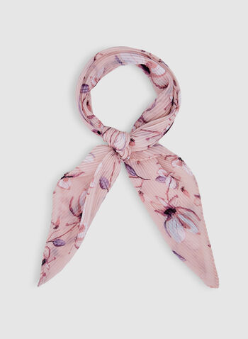 Floral Print Pleated Scarf, Pink, hi-res