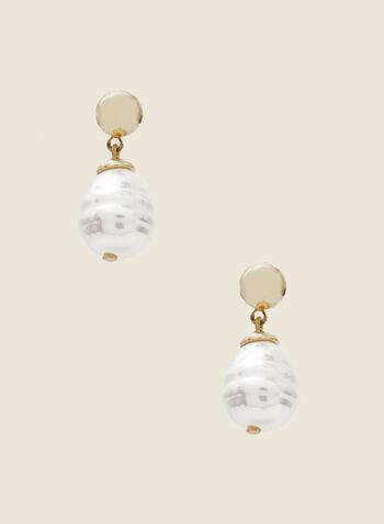 Boucles d'oreilles à pendant perle, Blanc cassé,  boucles d'oreilles, perles, automne hiver 2020
