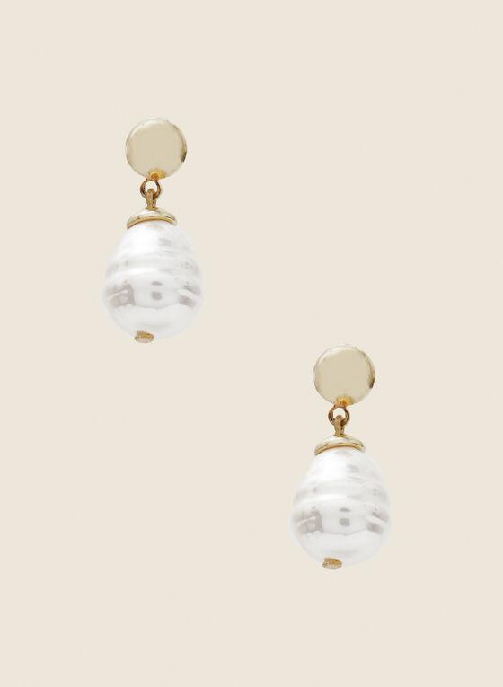 Pearl Dangle Earrings, Off White