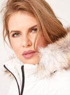 Novelti - Manteau matelassé avec capuchon en fausse fourrure, Blanc, hi-res
