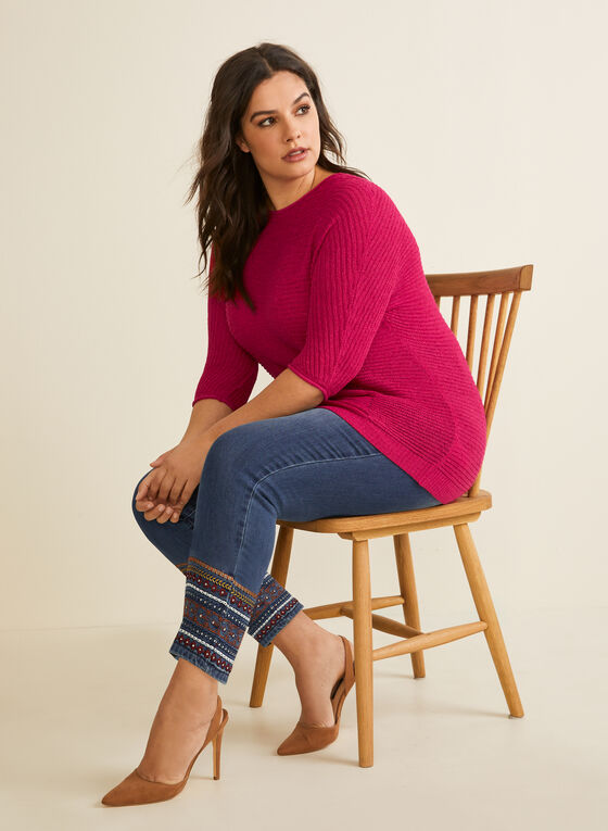 Embroidered Ankle Length Jeans, Blue