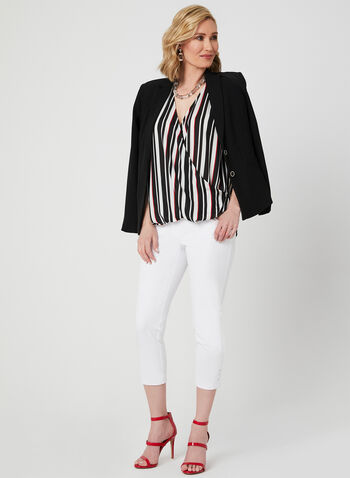 Stripe Print Wrap Blouse, Black, hi-res