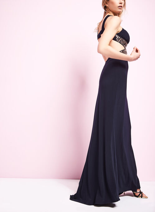 Jersey Beaded Cleo Neck Gown , Blue, hi-res