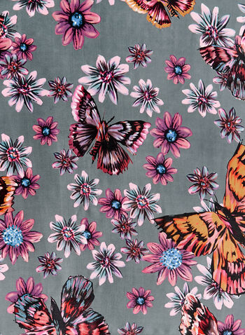 Floral Butterfly Print Scarf, Grey, hi-res