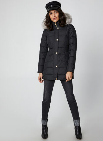 Anne Klein - Faux Fur Down Coat, Black, hi-res,  coat, faux fur hood, down, knit, quilted, anne klein, fall winter 2019