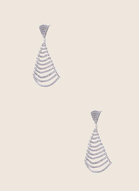 Draped Crystal Dangle Earrings, Silver