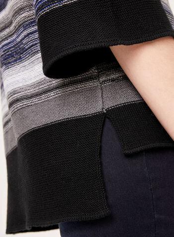 Haut tricoté asymétrique à rayures striées, Bleu, hi-res