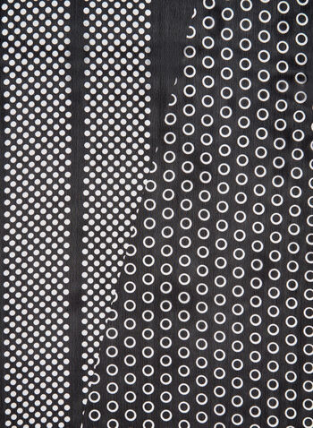 Dot Print Scarf, Black, hi-res,  scarf, mixed print, dot print, fall 2019, winter 2019