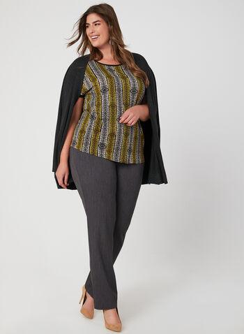 Snakeskin Print Top, Brown, hi-res,  popover blouse