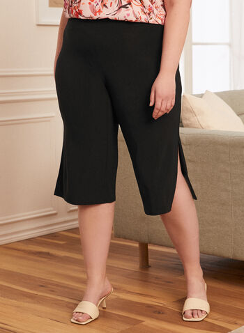 Wide Leg Side Slit Capris, Black,  capris, pull-on, jersey, slit, wide leg, spring summer 2020