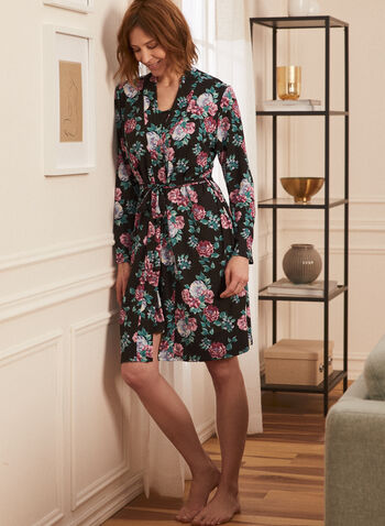 Nightshirt & Cover-Up Set, Black,  pyjamas, set, 2 piece, sleeveless, scoop neck, floral print, cover up, spring summer 2021