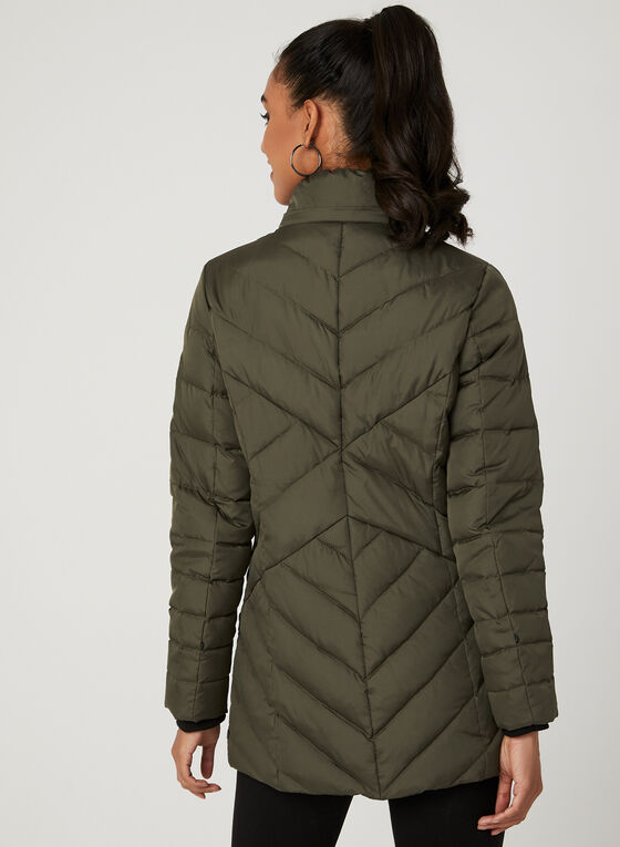 Novelti – Reflective Quilted Down Coat, Green, hi-res