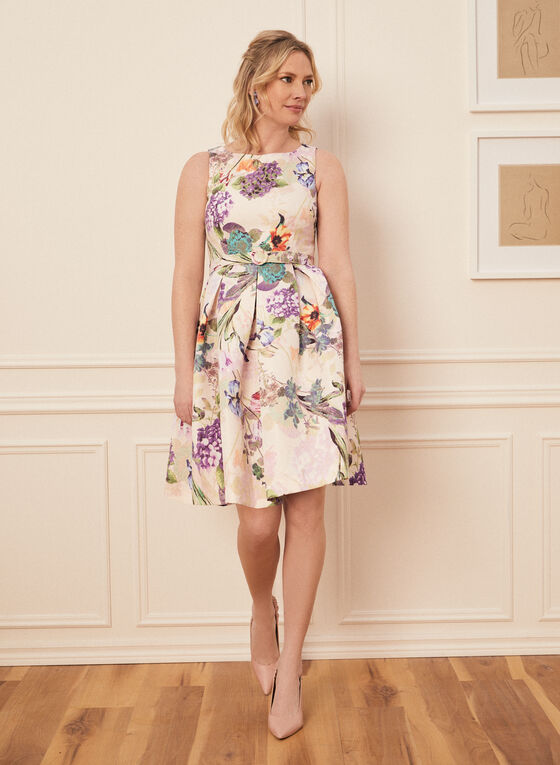 Floral Motif Sleeveless Dress, White