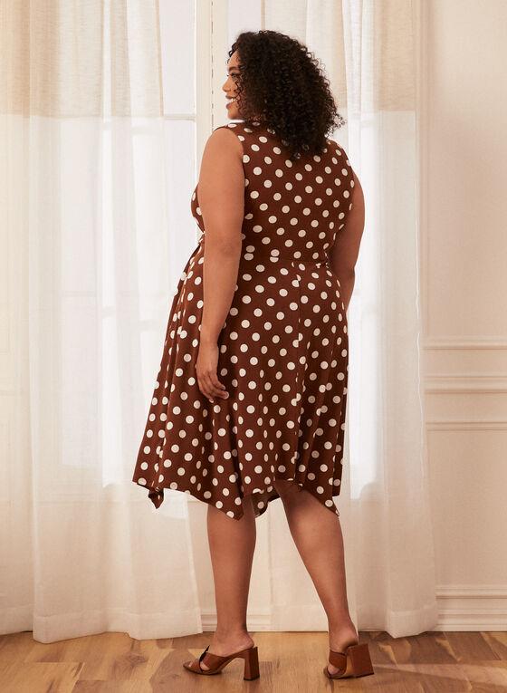 Polka Dot Faux Wrap Dress, Brown