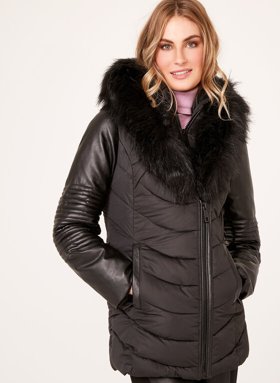 Ellabee - Faux-Leather Sleeve Quilted Coat , Black, hi-res
