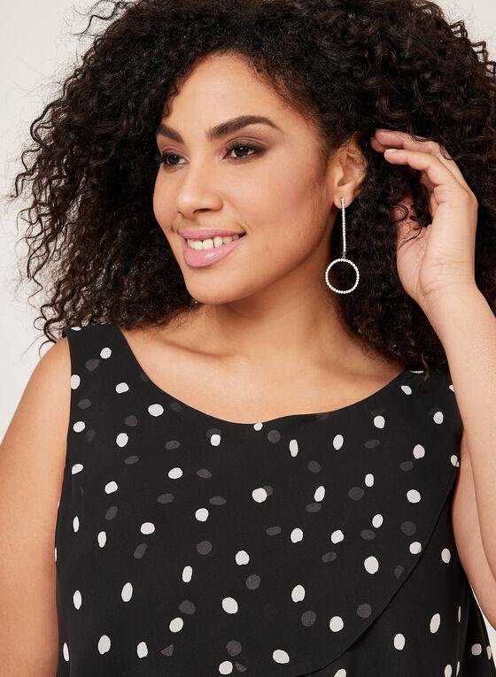 Polka Dot Print Tiered Chiffon Dress, Black