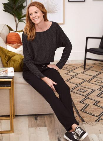 Dolman Sleeve Top, Grey,  made in Canada, top, rib knit, long sleeves, boat neck, dolman sleeves, fall winter 2021