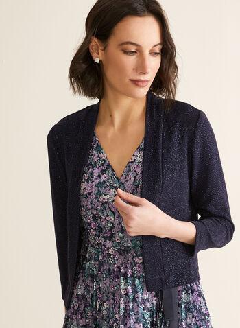 Ronni Nicole - Glitter Knit Bolero , Blue,  bolero, open front, 3/4 sleeves, glitter, spring summer 2020