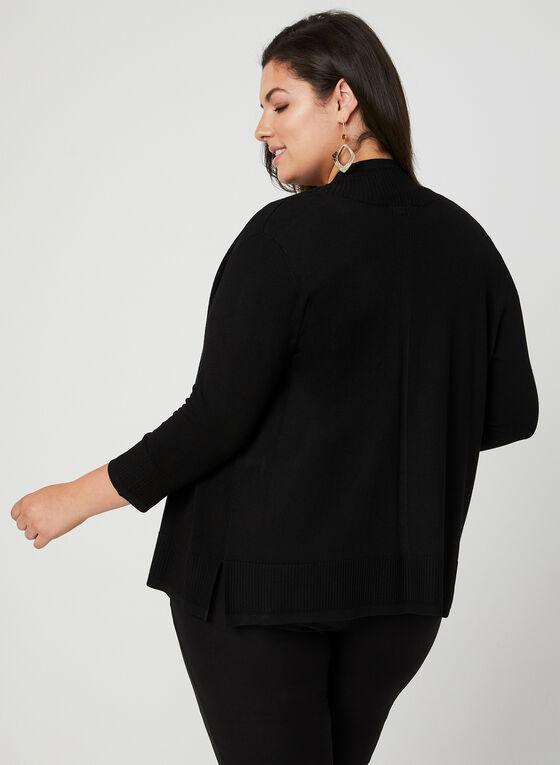 Cardigan ouvert à bordures texturées, Noir