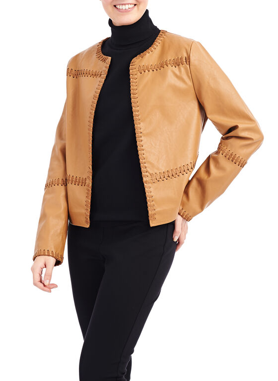 Faux Leather Stitch Detail Jacket, Brown, hi-res