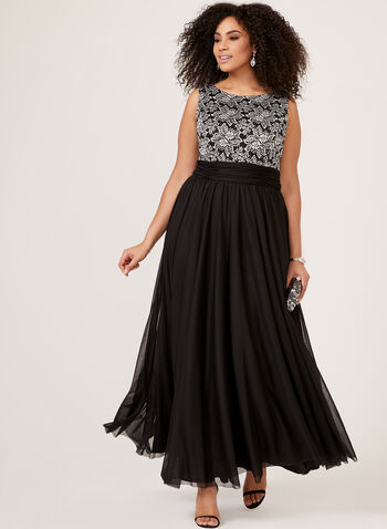 Jessica Howard -  Lace Bodice and Mesh Skirt Evening Dress, Black, hi-res