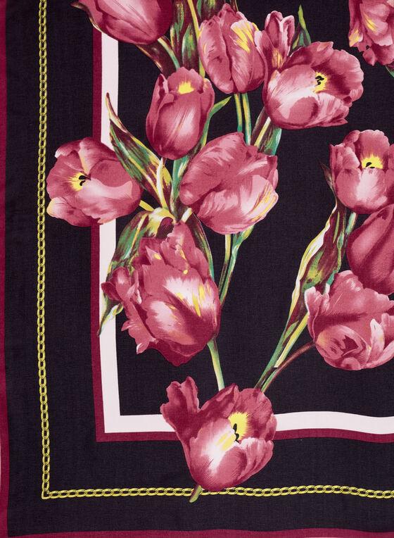 Foulard à fleurs tulipes, Rouge, hi-res