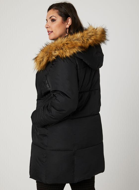 Manteau matelassé à capuchon en fausse fourrure, Noir, hi-res