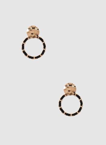 Boucles d'oreilles pendantes à anneaux, Noir,  automne hiver 2019, boucles d'oreilles, anneaux, deux tons, pendant, bijou, accessoire