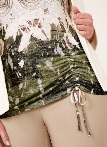 Haut long à imprimé et détails strass, Vert, hi-res