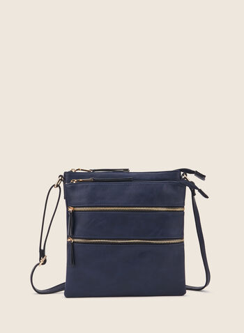 Sac zippé en similicuir, Bleu,  sac à main, rectangle, zip, rectangle, bandoulière, printemps été 2020
