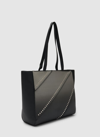 Stud Detail Tote Bag, Black,  fall winter 2019, tote, faux-leather