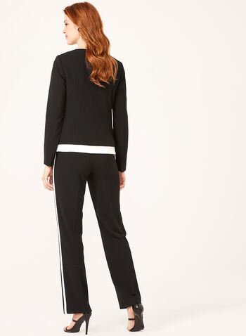 Contrast Trim Crepe Jacket, Black, hi-res
