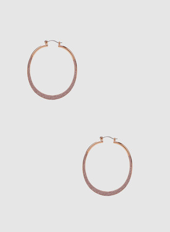 Glitter Hoop Earrings, Pink, hi-res