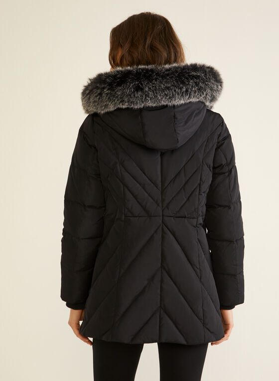Manteau à capuchon en duvet mélangé, Noir