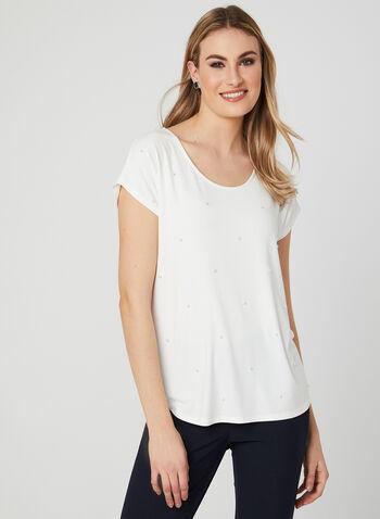 T-shirt à détails perles, Blanc cassé, hi-res